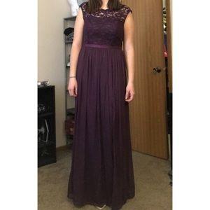 Plum Bridesmaids Dress w/ Lace Bodice